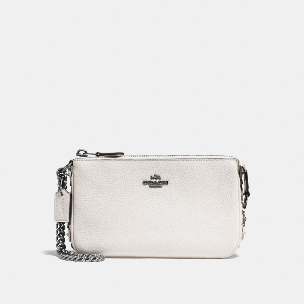 Nolita Wristlet 19 in Polished Pebble Leather With Willow Floral Detail