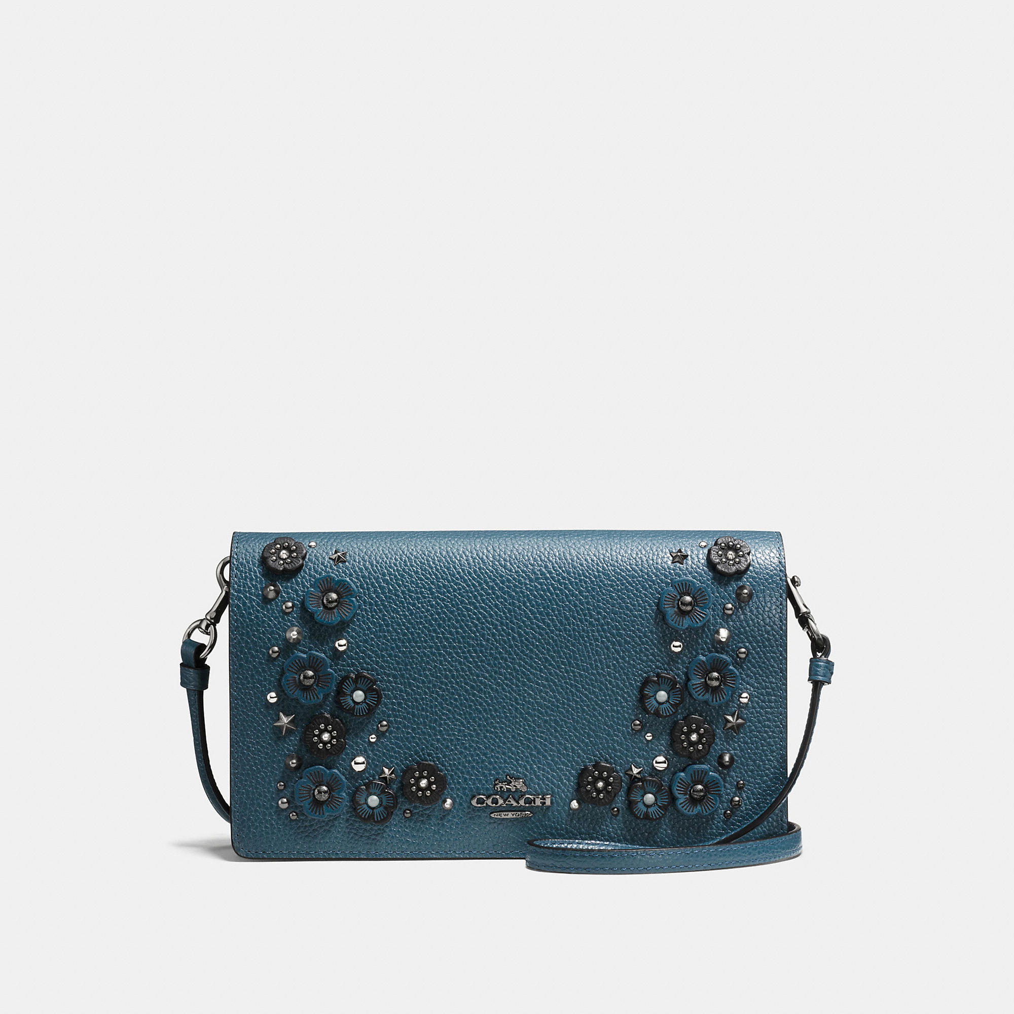 Coach Foldover Crossbody Clutch In Polished Pebble Leather With Willow Floral Detail
