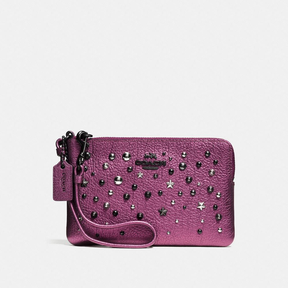 SMALL WRISTLET IN METALLIC LEATHER WITH STAR RIVETS - Alternate View