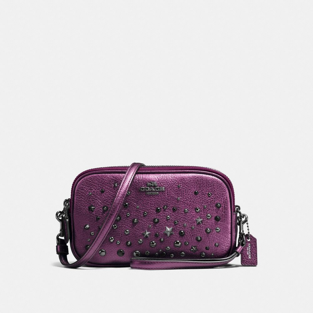CROSSBODY CLUTCH IN METALLIC LEATHER WITH STAR RIVETS - Alternate View
