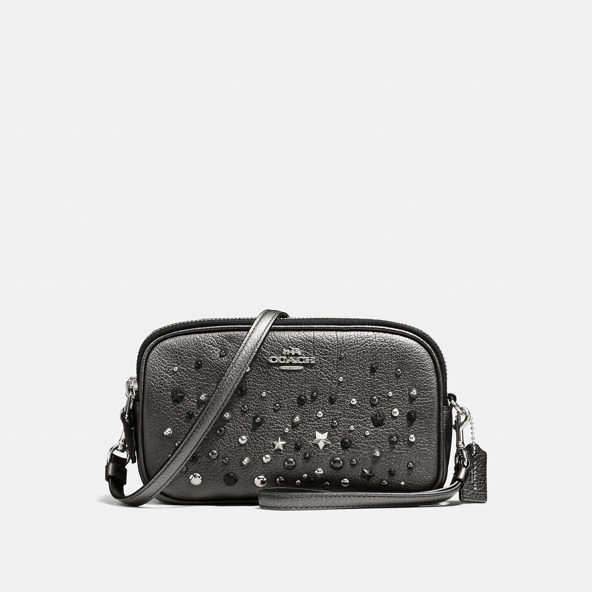 Coach Crossbody Clutch In Metallic Leather With Star Rivets