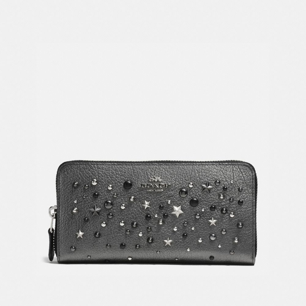 ACCORDION ZIP WALLET IN METALLIC LEATHER WITH STAR RIVETS - Alternate View