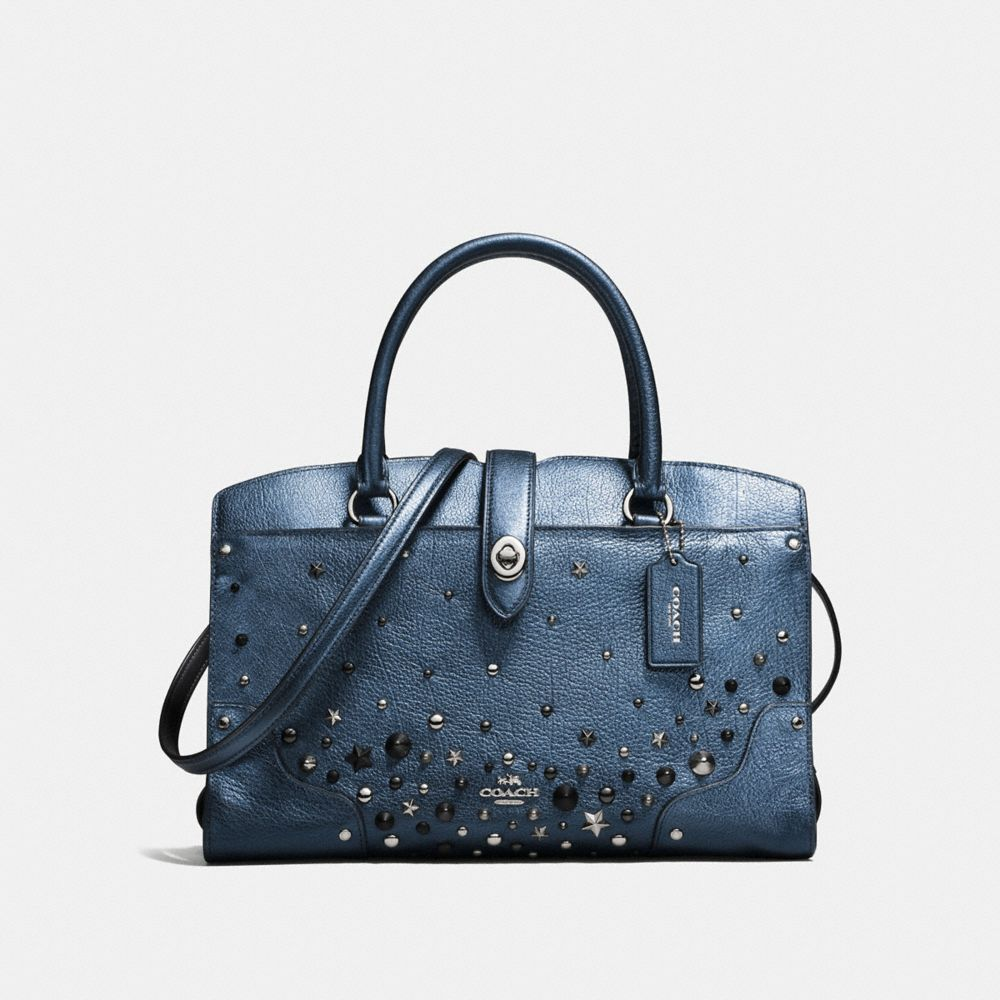MERCER SATCHEL 30 IN METALLIC LEATHER WITH STAR RIVETS - Alternate View