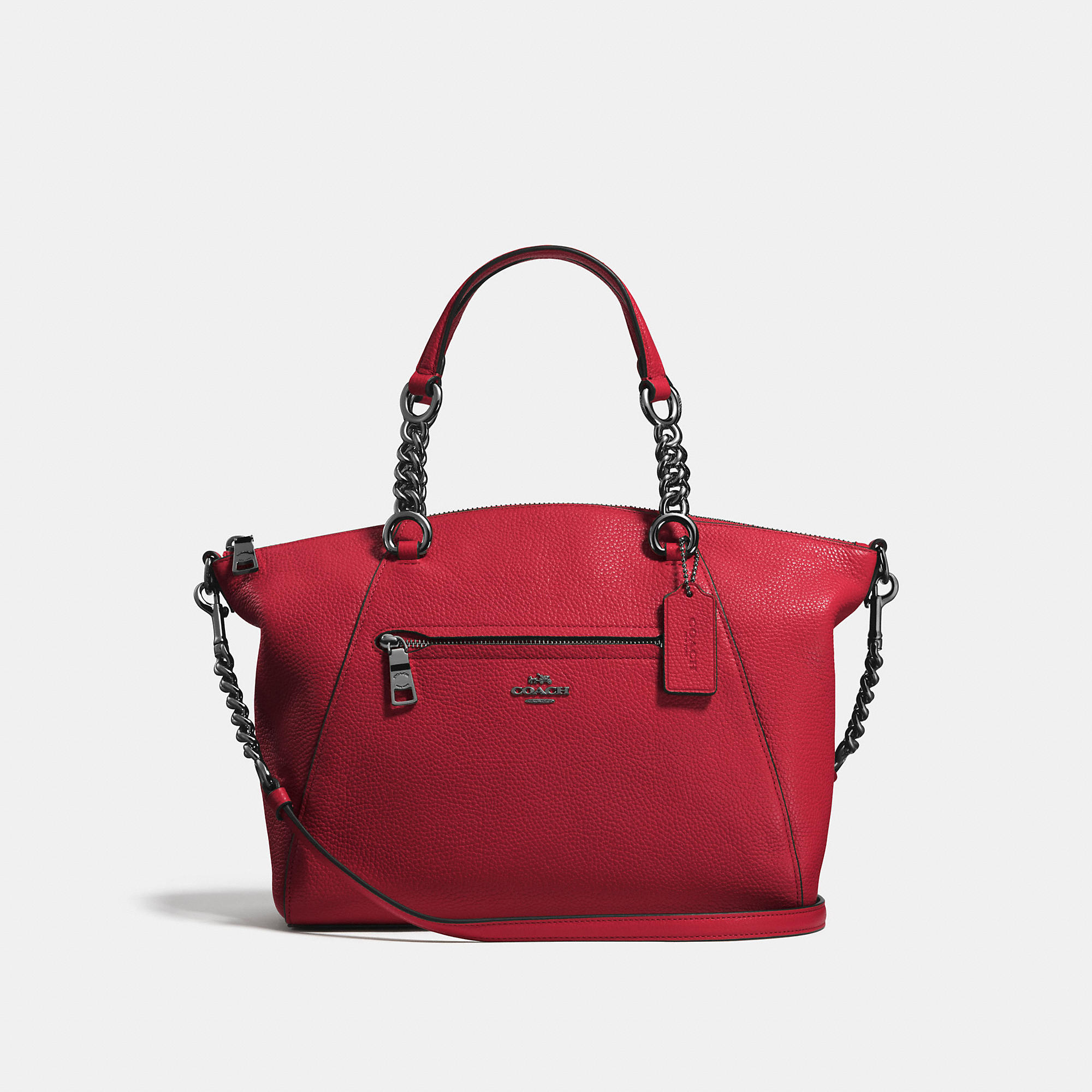Coach Chain Prairie Satchel In Polished Pebble Leather