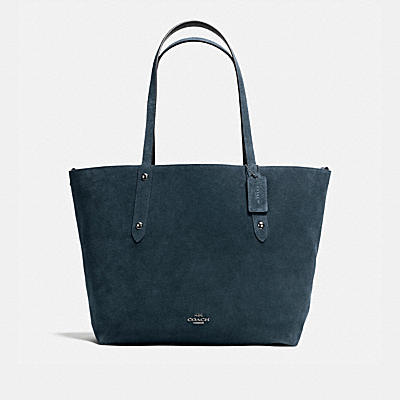REVERSIBLE LARGE MARKET TOTE IN SUEDE AND CROSSGRAIN LEATHER