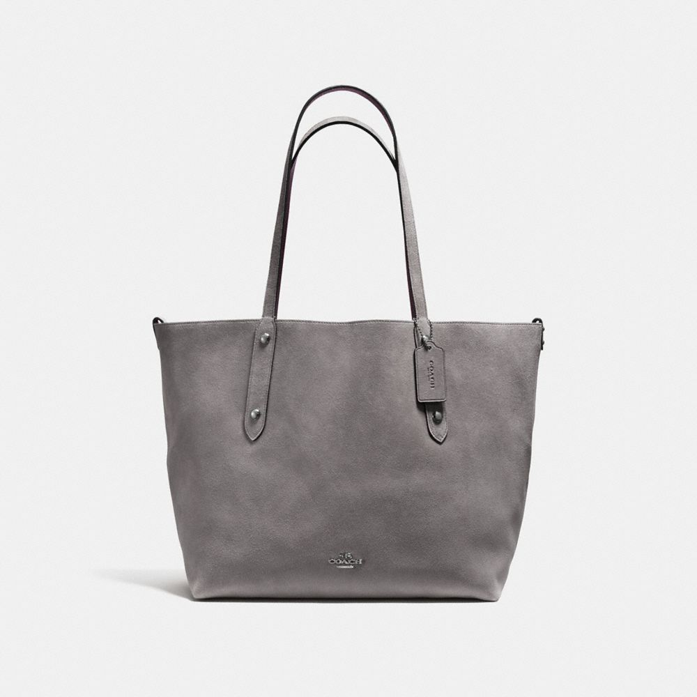 Tote - Reversible Suede LG Market Tote Heather Grey/Oxblood - grey - Tote for ladies Coach