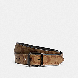 ROLLER BUCKLE CUT-TO-SIZE REVERSIBLE BELT, 38MM - QB/TAN CHARCOAL - COACH 5951