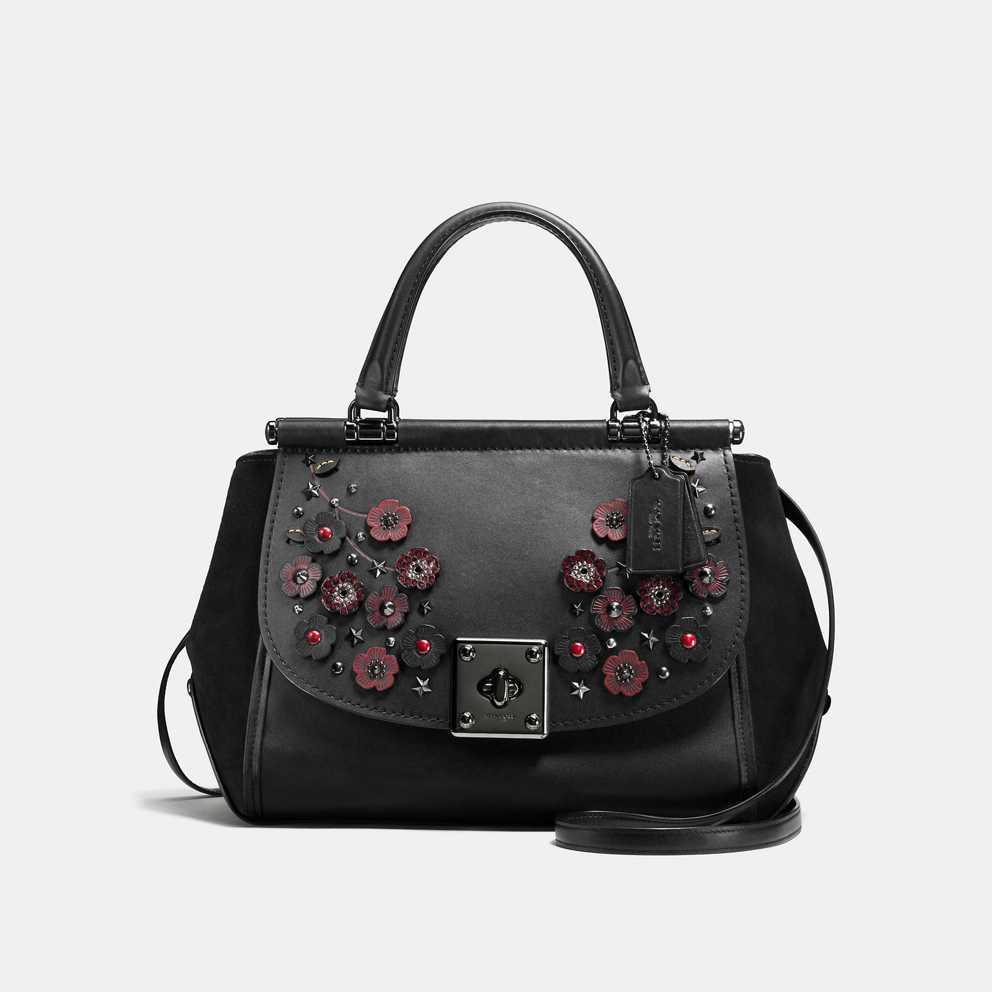 Coach Drifter Carryall In Glovetanned Leather With Willow Floral Detail