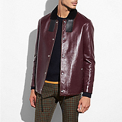 LEATHER COACH JACKET - MAROON - COACH 59570