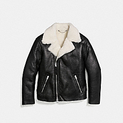 SHEARLING MOTO JACKET - BLACK/ANTIQUE WHITE - COACH 59579