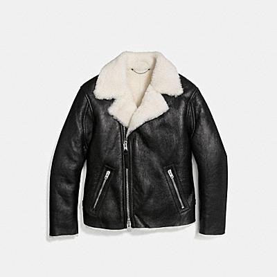 翻皮羊毛騎士夾克