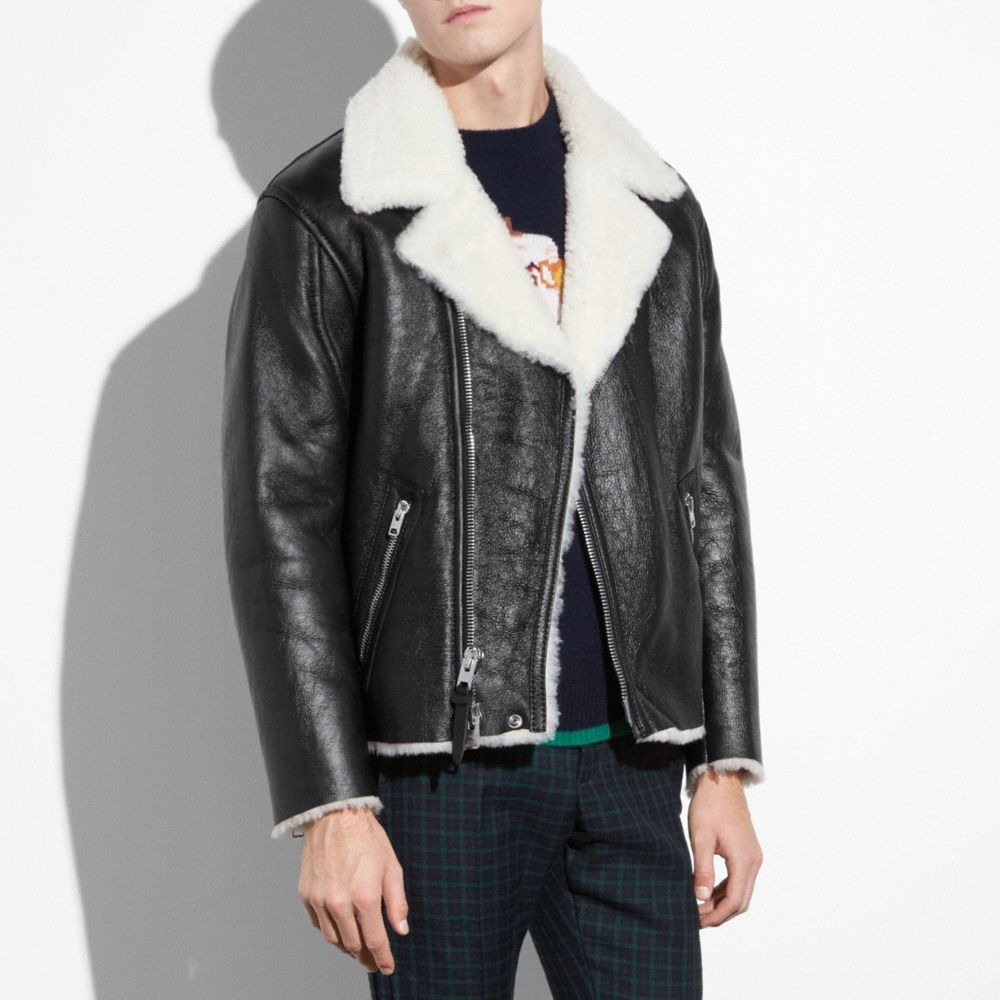Coach Shearling Moto Alternate View 1