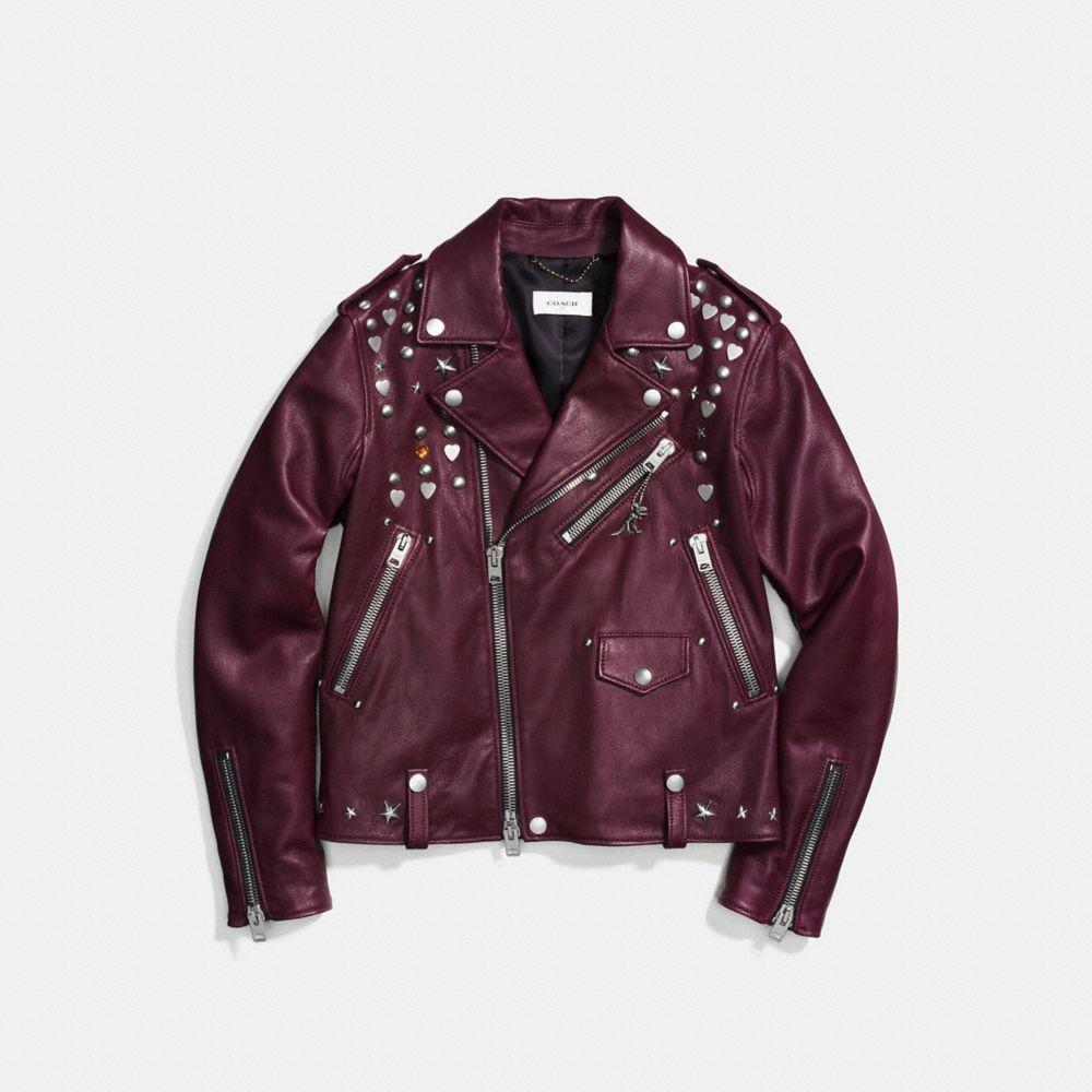 Coach Moto Jacket With Beatnik Rivets Alternate View 1