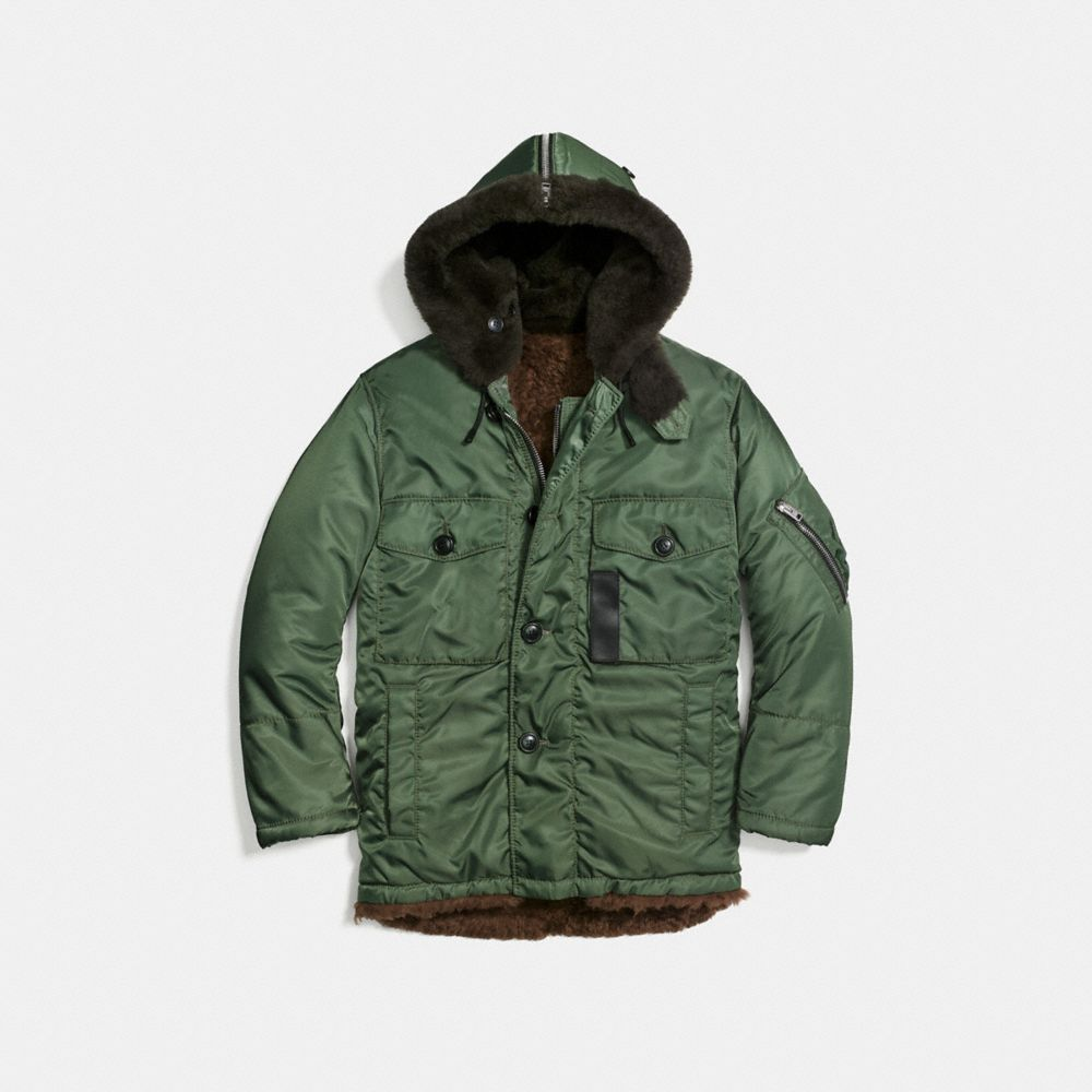 Coach Shearling Parka Alternate View 1