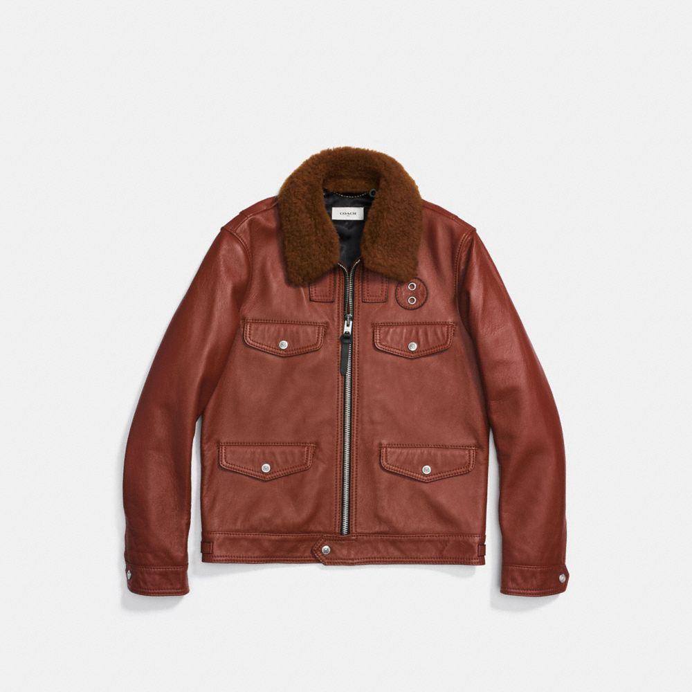 FOUR POCKET LEATHER JACKET - Alternate View
