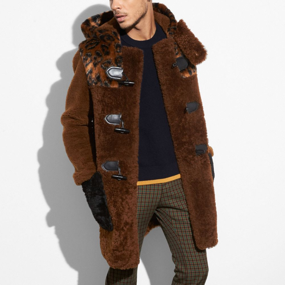 Coach Shearling Mix Duffle Coat