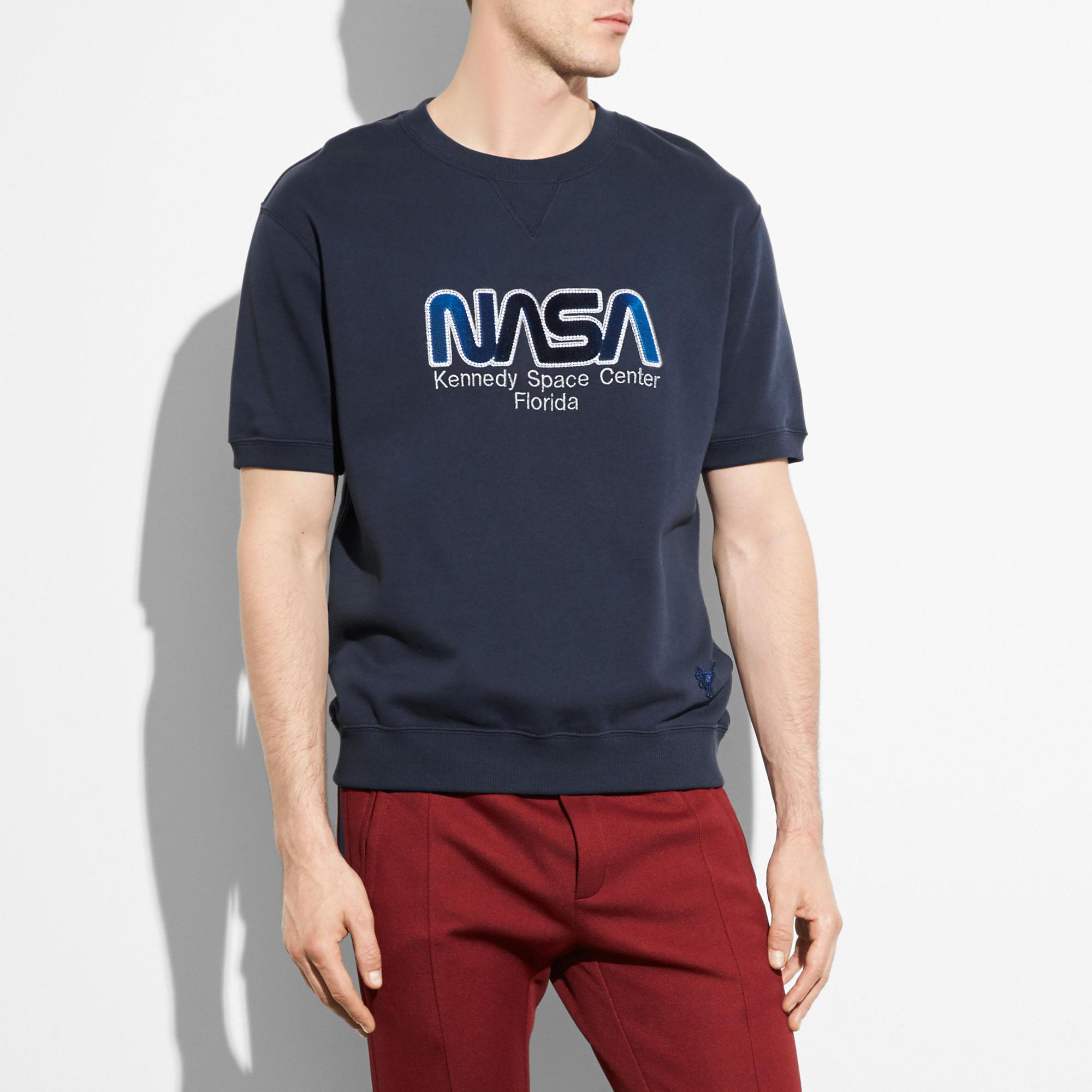 Coach Embellished Space Short Sleeve Sweatshirt