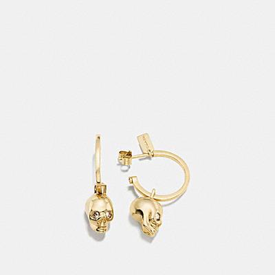迷你骷髏頭吊飾圈型耳環
