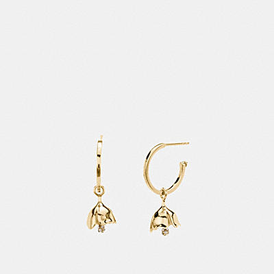 MINI 18K GOLD PLATED TEA ROSE CHARM HOOP EARRINGS