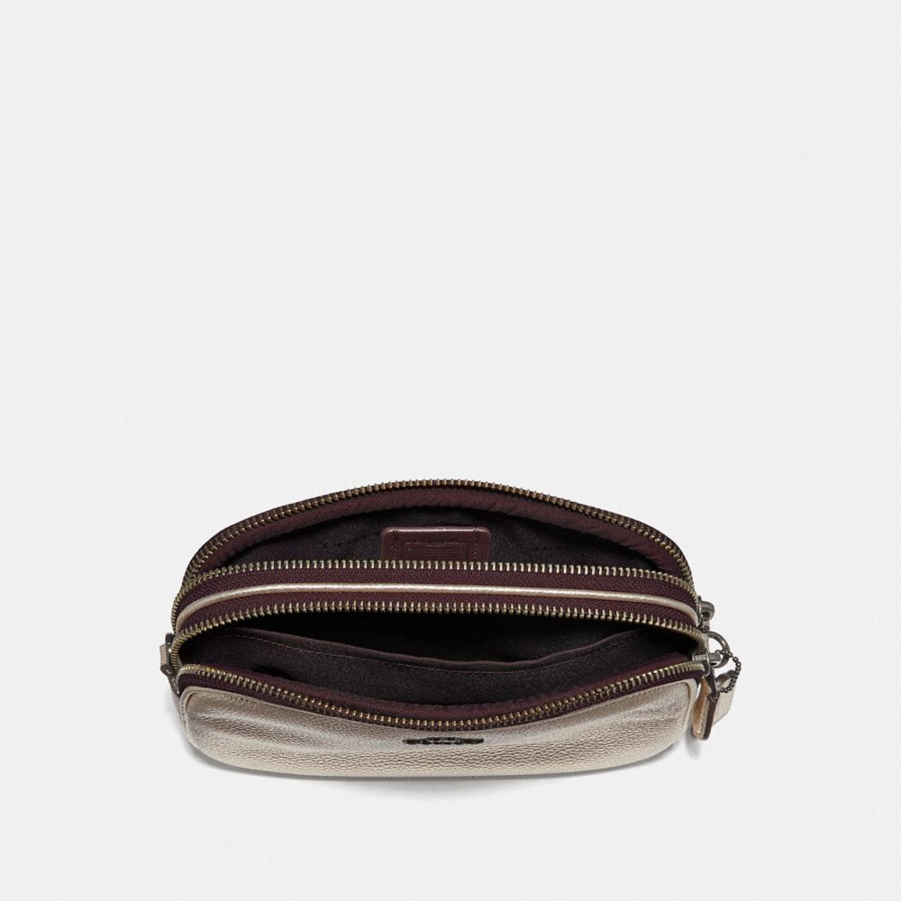 CROSSBODY CLUTCH IN METALLIC LEATHER - Alternate View