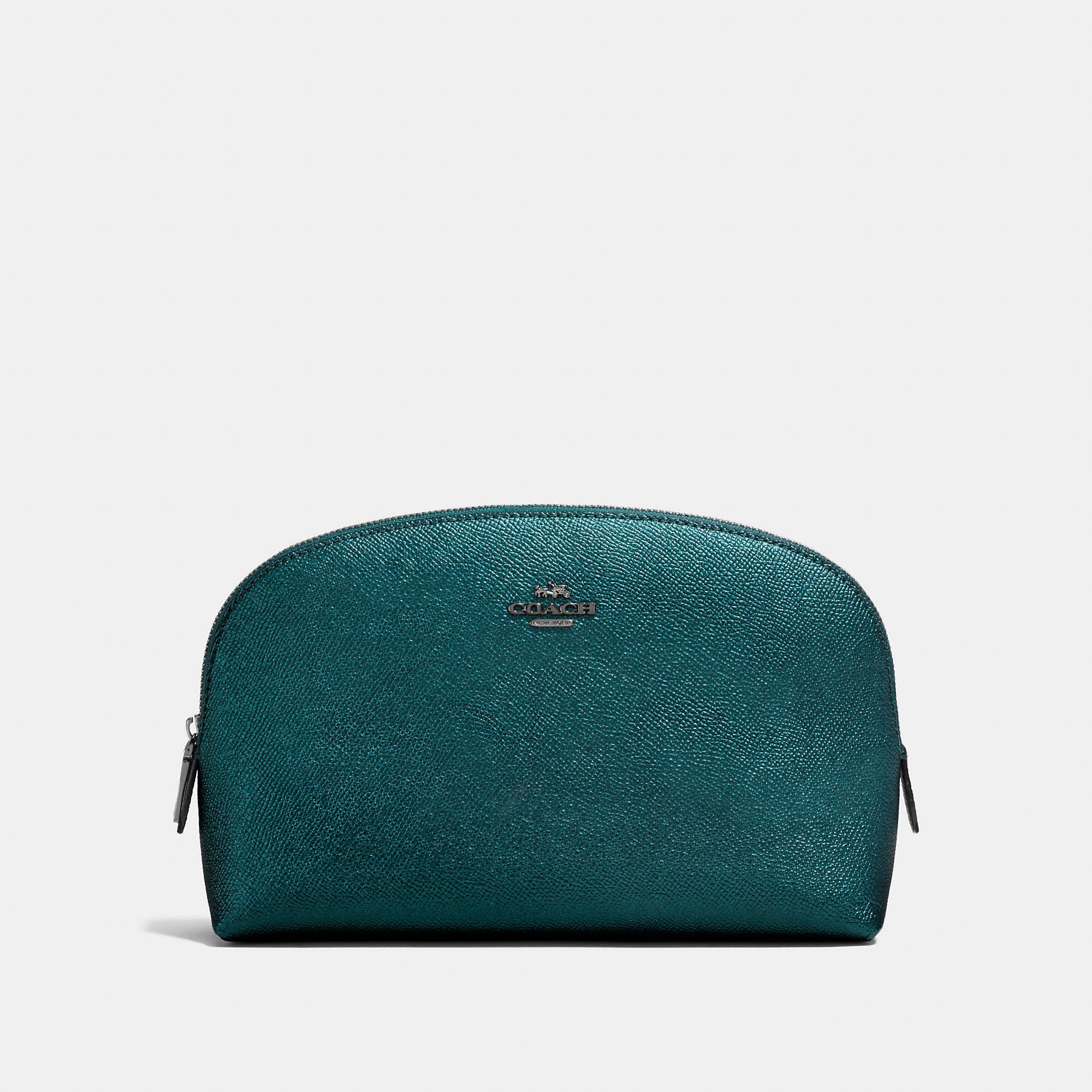 Coach Cosmetic Case 22 In Metallic Leather
