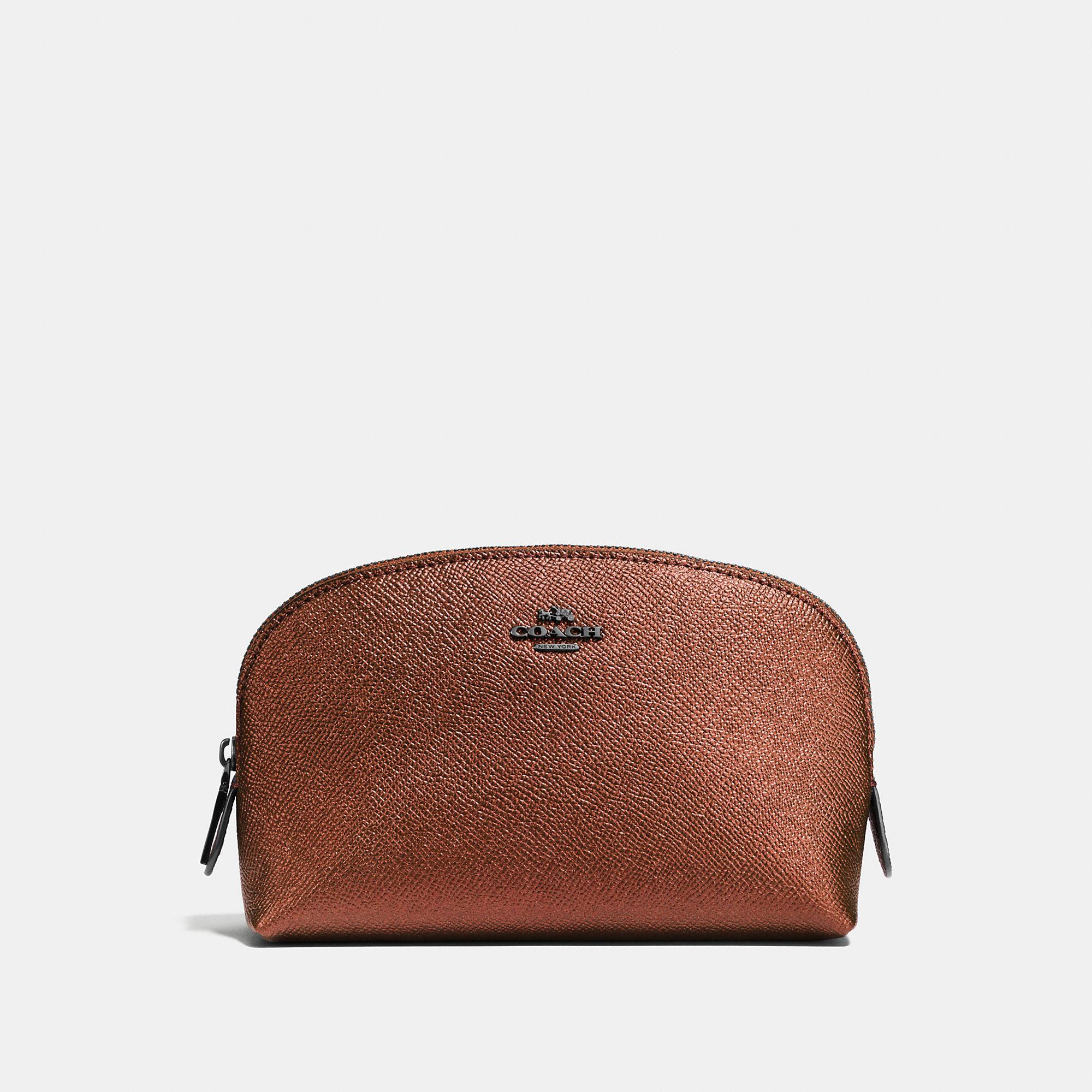 Coach Cosmetic Case 17 In Metallic Leather