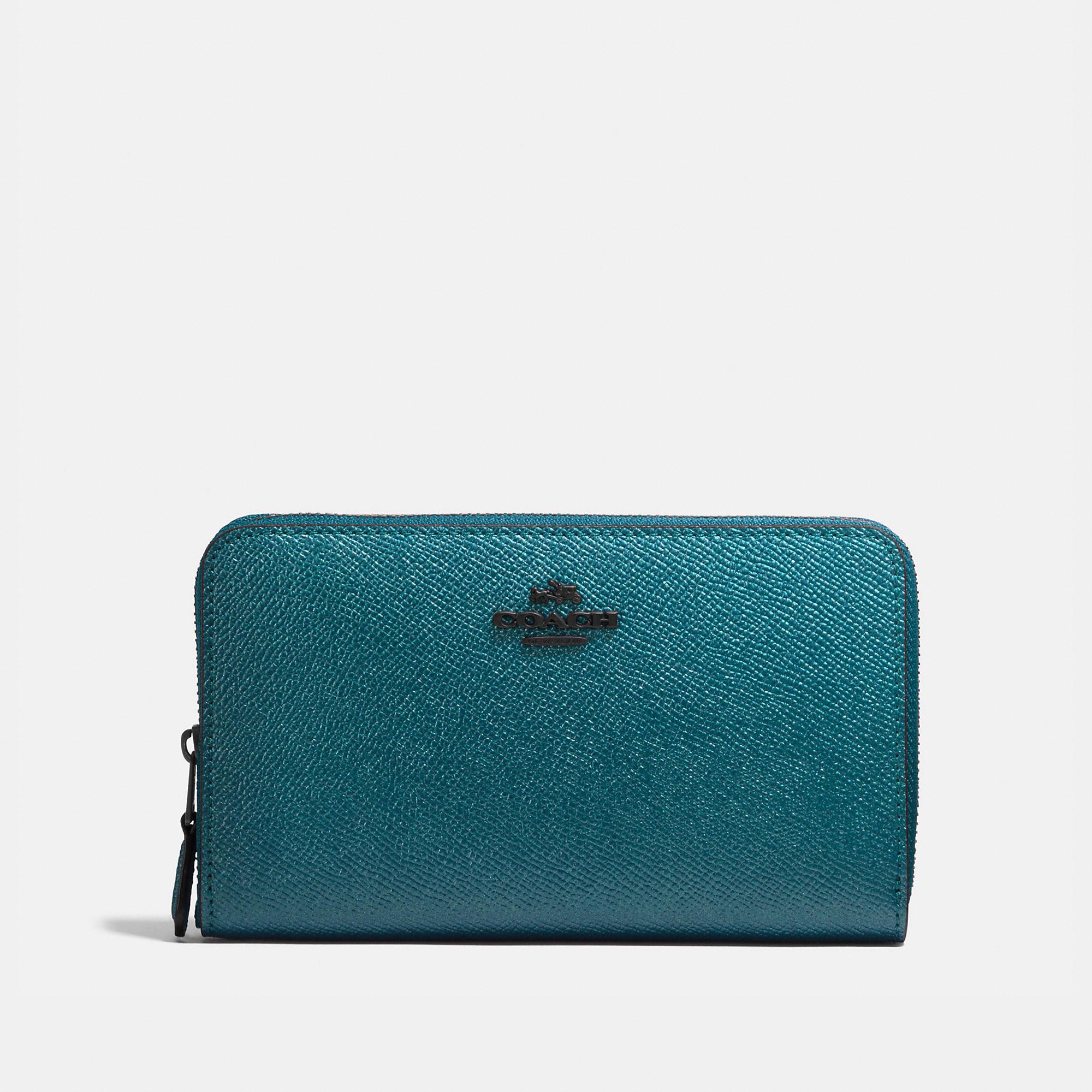 Coach Medium Zip Around Wallet In Metallic Leather
