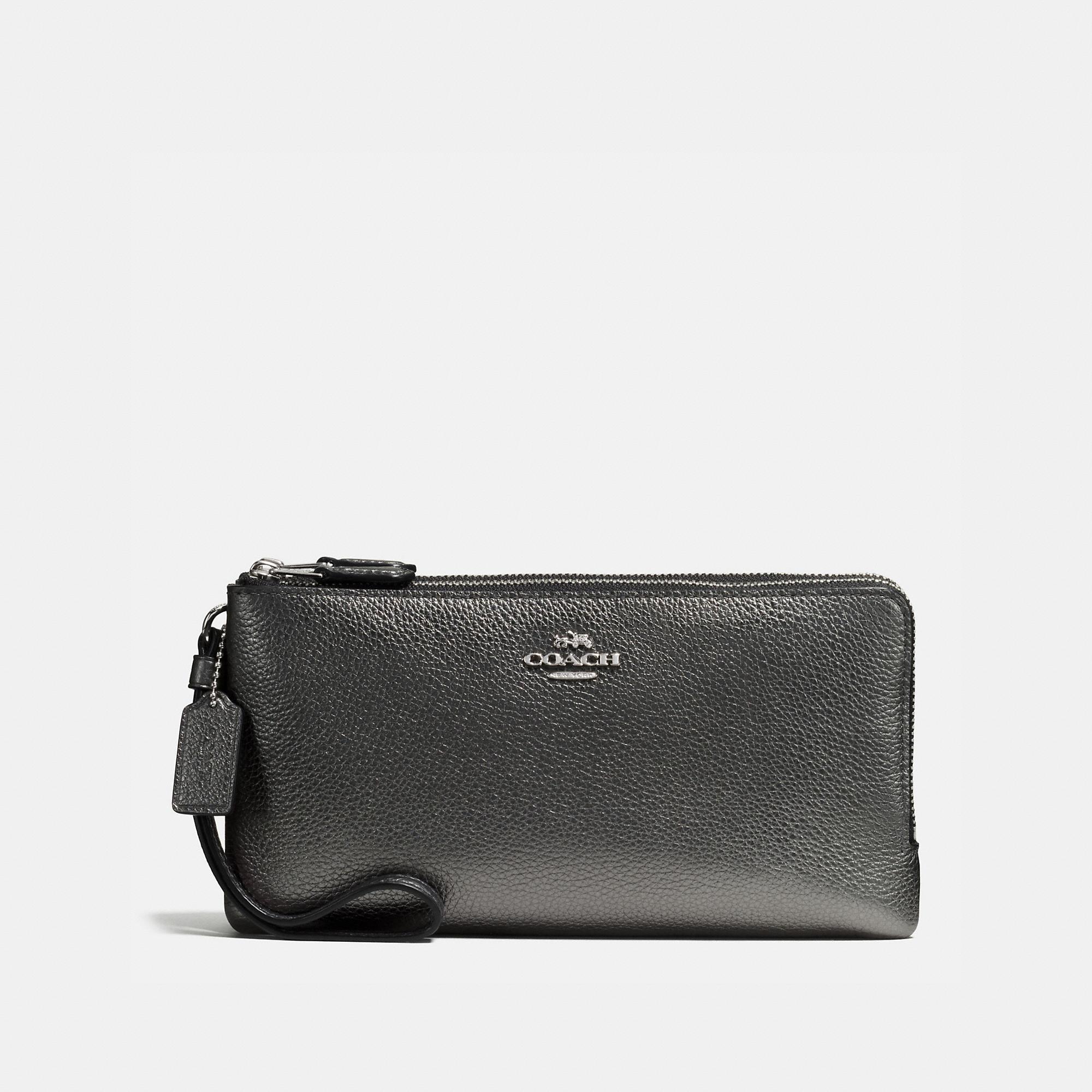 Coach Double Zip Wallet In Metallic Leather