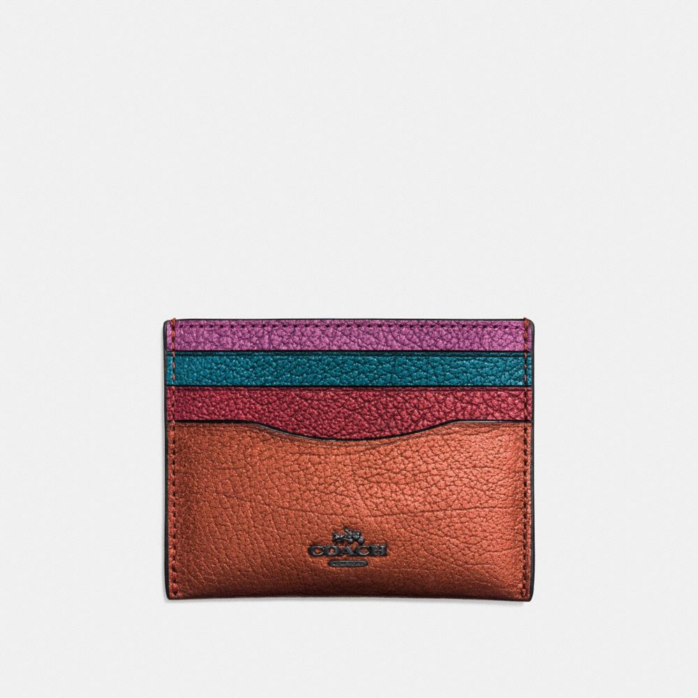 FLAT CARD CASE IN METALLIC COLORBLOCK LEATHER - Alternate View