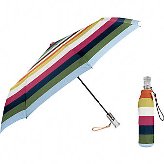 Coach Official Site - COACH LEGACY STRIPE FOLDING UMBRELLA :  folding bags shoes leather goods