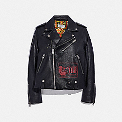DISNEY MICKEY MOUSE X KEITH HARING MOTO JACKET - BLACK - COACH 6040