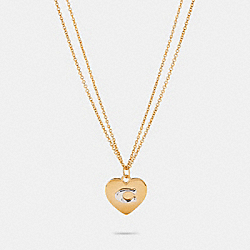 HEART PENDANT NECKLACE - GD/SILVER - COACH 6063