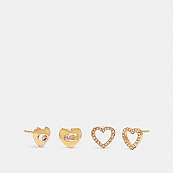 HEART STUD EARRINGS SET - GD/GOLD QUARTZ - COACH 6068