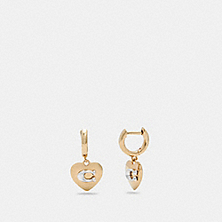 HEART HUGGIE EARRINGS - GD/SILVER - COACH 6070