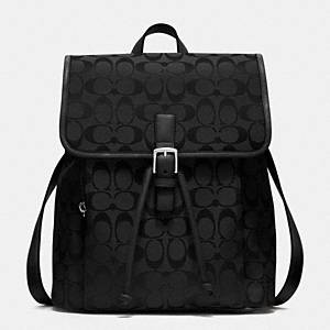 Coach - Signature Backpack Sv/black