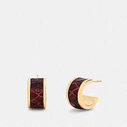 HUGGIE EARRINGS - GD/WINE - COACH 6108