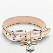 METALLIC LEATHER COLLAR WITH HEART CHARM