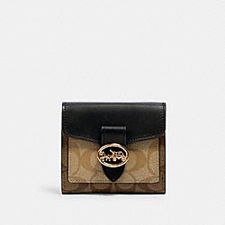 GEORGIE SMALL WALLET IN BLOCKED SIGNATURE CANVAS - IM/KHAKI/LT KHAKI/BLACK - COACH 6261