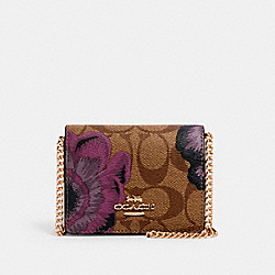 MINI WALLET IN SIGNATURE CANVAS WITH KAFFE FASSETT PRINT - IM/KHAKI PURPLE MULTI - COACH 6265