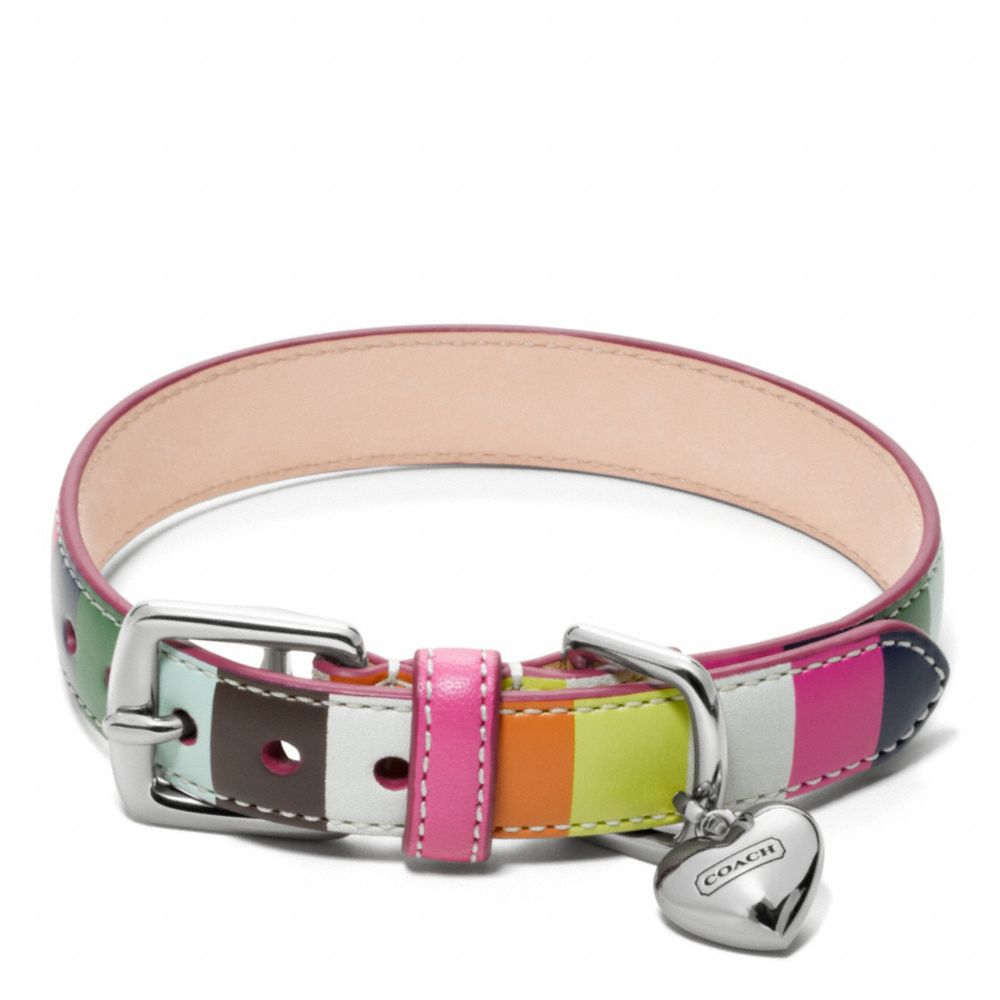 Printed Legacy Stripe Leather Collar - Alternate View