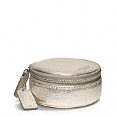 LEGACY METALLIC LEATHER ROUND JEWELRY CASE