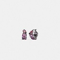 CRYSTAL TEA ROSE HUGGIE EARRINGS - SV/PURPLE - COACH 6300