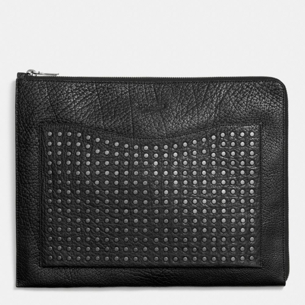 STUDDED PORTFOLIO IN LEATHER