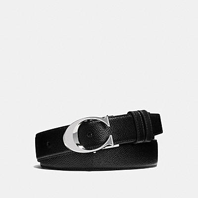 SCULPTED C CUT-TO-SIZE REVERSIBLE TEXTURED LEATHER BELT