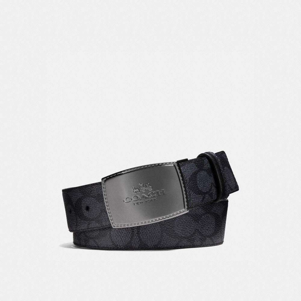 Wide Stitched Plaque Cut-To-Size Reversible Signature Belt
