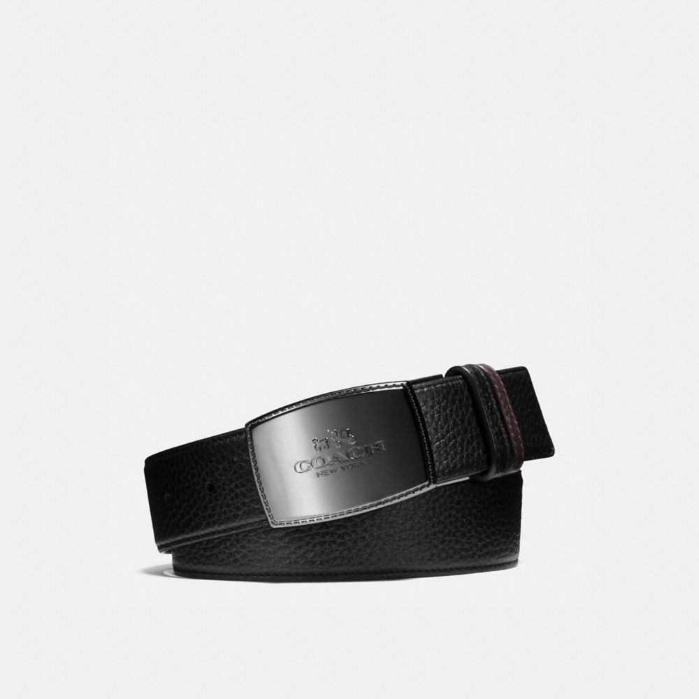 Wide Stitched Plaque Cut-To-Size Reversible Leather Belt