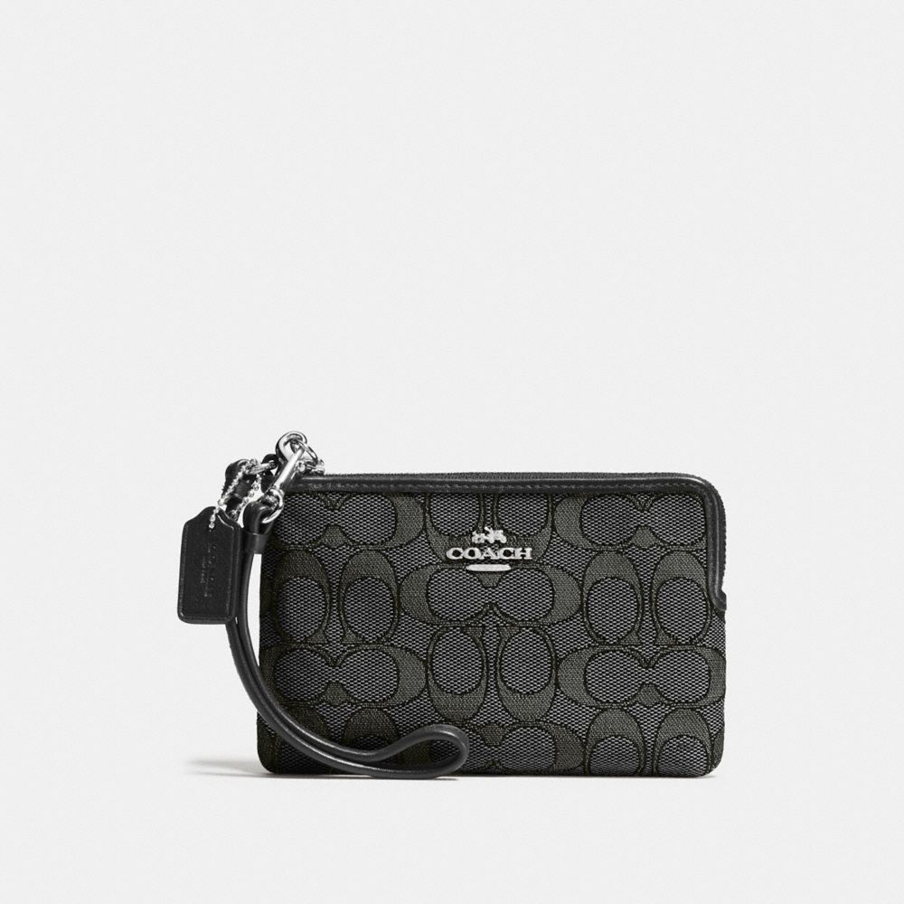 CORNER ZIP WRISTLET IN SIGNATURE JACQUARD CANVAS