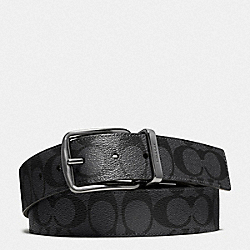 HARNESS BUCKLE CUT-TO-SIZE REVERSIBLE BELT, 38MM - CHARCOAL/BLACK - COACH 64839