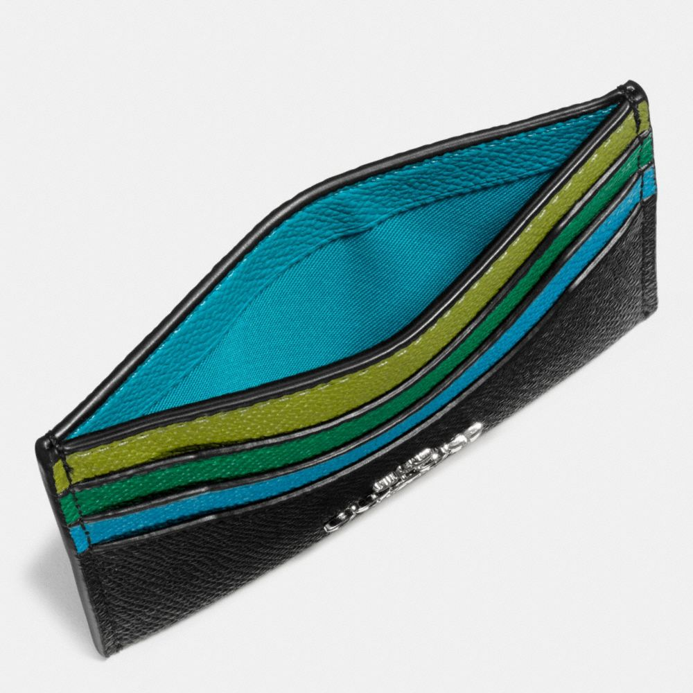 Coach Flat Card Case in Colorblock Leather Alternate View 1