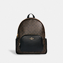 LARGE COURT BACKPACK IN SIGNATURE CANVAS - IM/BROWN BLACK - COACH 6495